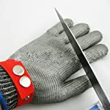 FENICAL 1PCS schnittfest Handschuhe, hohe Leistung Stufe 5 Schutz, Metall-Knopf Edelstahl Draht Sicherheit geschnittenen Metallgewebe Metzger für Handschutz, Küche, Outdoor-Gartenarbeit