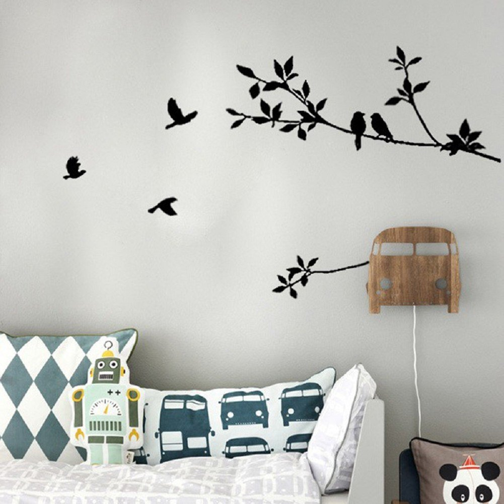 AIMTOPPY Tree Branch Black Bird Art Wall Stickers Removable Vinyl Decal Home