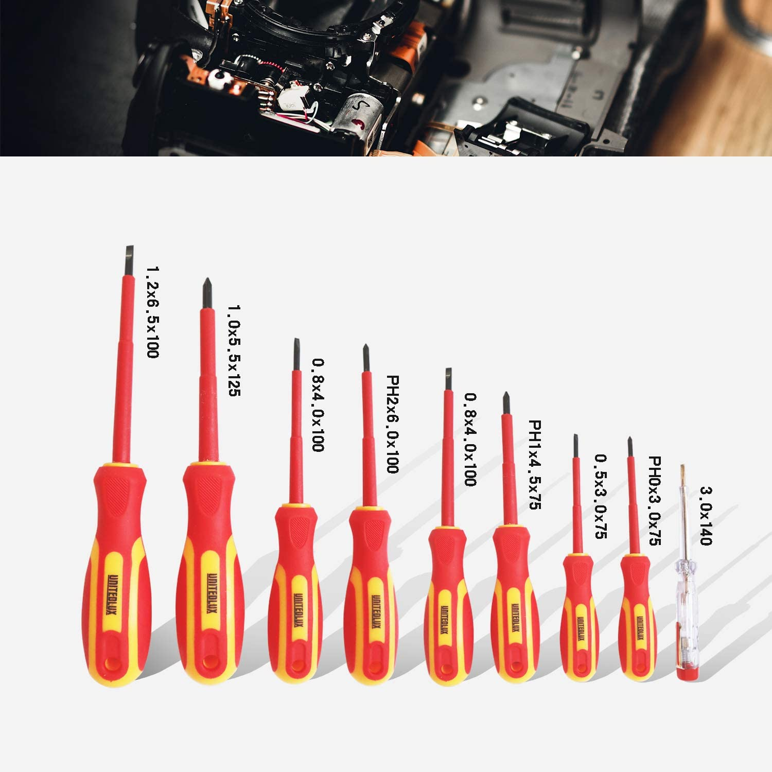 8-Piece 1000V Insulated Screwdriver Set with Magnetic Tips Phillips and Slotted Bits high voltage screwdriver set