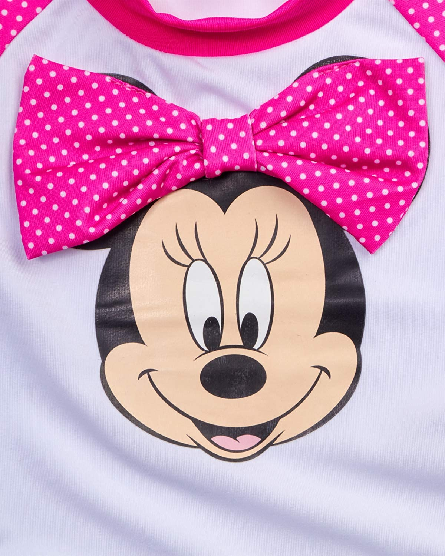 Dark Pink Minnie Print Size 18 Months Disney Minnie Mouse Infant Baby Girls 2-Piece Rash Guard and Bikini Swimsuit Set