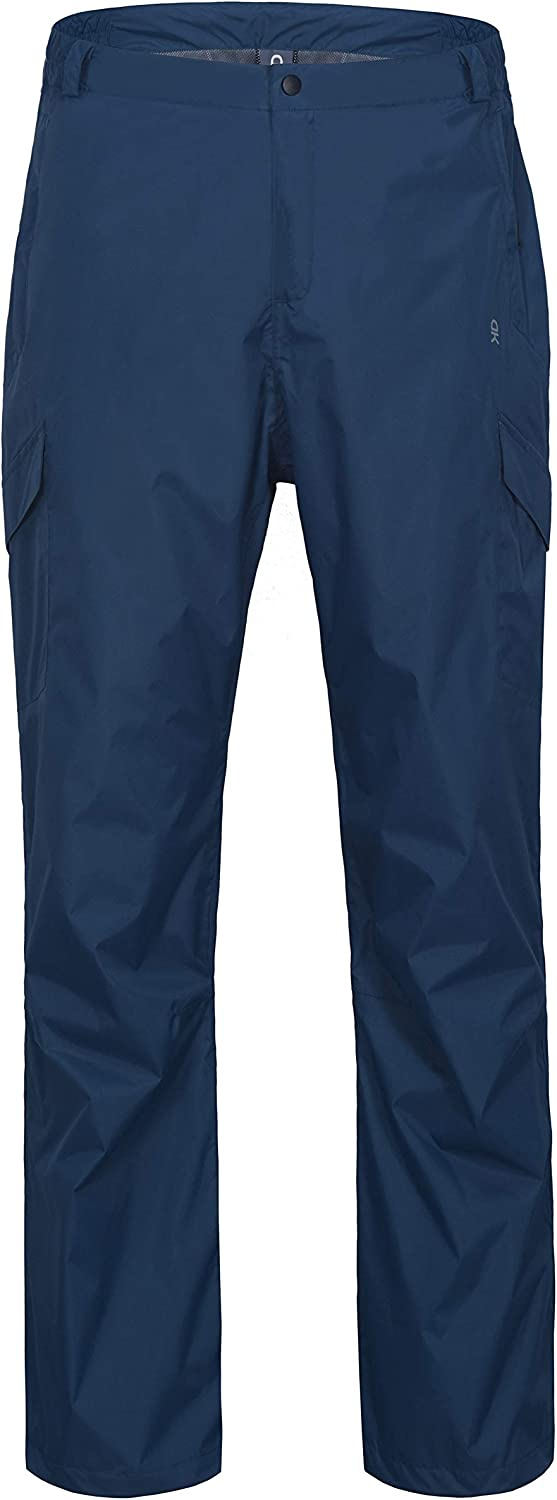 Image of a blue rain pants with snap closure seen, on a white background.