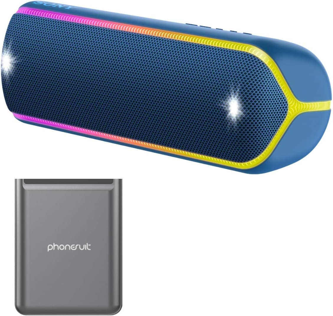 Sony XB32 Extra Bass Portable Bluetooth Speaker Blue with Ultra Portable 5,000 mAh Battery Pack 2 Items