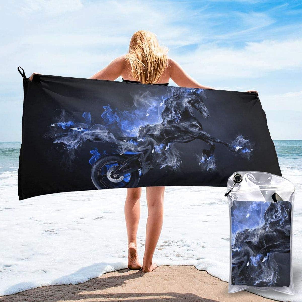 YYRR Toallas de baño de Microfibra de Viaje Grande Toallas Ligeras súper absorbentes para Nadadores - Toalla de Playa de Secado rápido para Motocicleta, Arte de Caballo Hermoso para Acampar, Camina