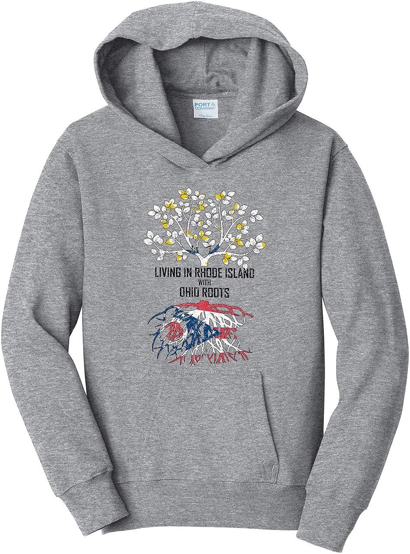 Tenacitee Girls Living in Rhode Island with Ohio Roots Hooded Sweatshirt