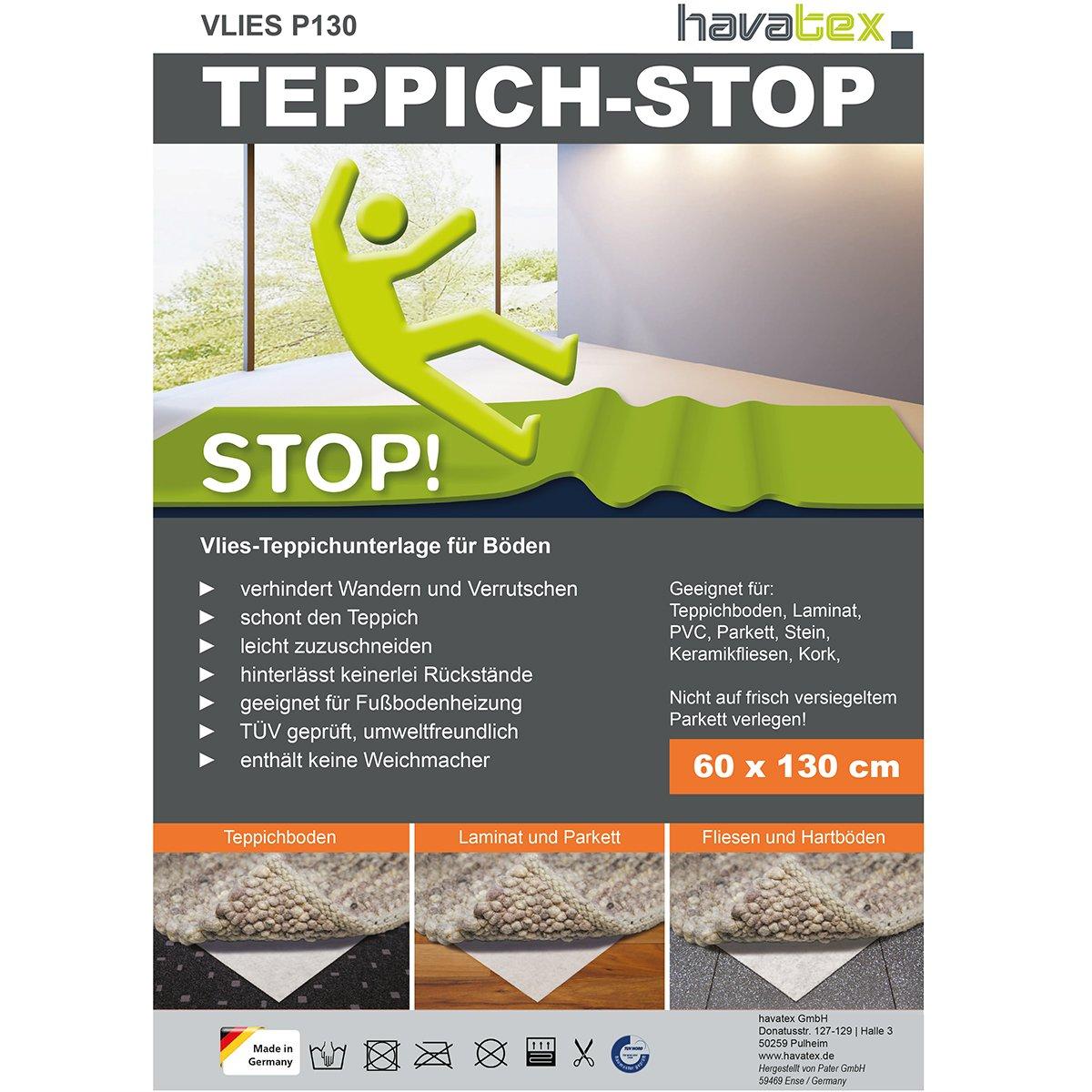 havatex Anti-Rutsch Teppich Unterlage VLIES P130 - Größe wählbar   Teppich-Stopper Anti-Rutsch-Matte   Made in Germany   leicht zuzuschneiden   TÜV geprüft, Öko-Tex Siegel, Größe:290 x 390 cm