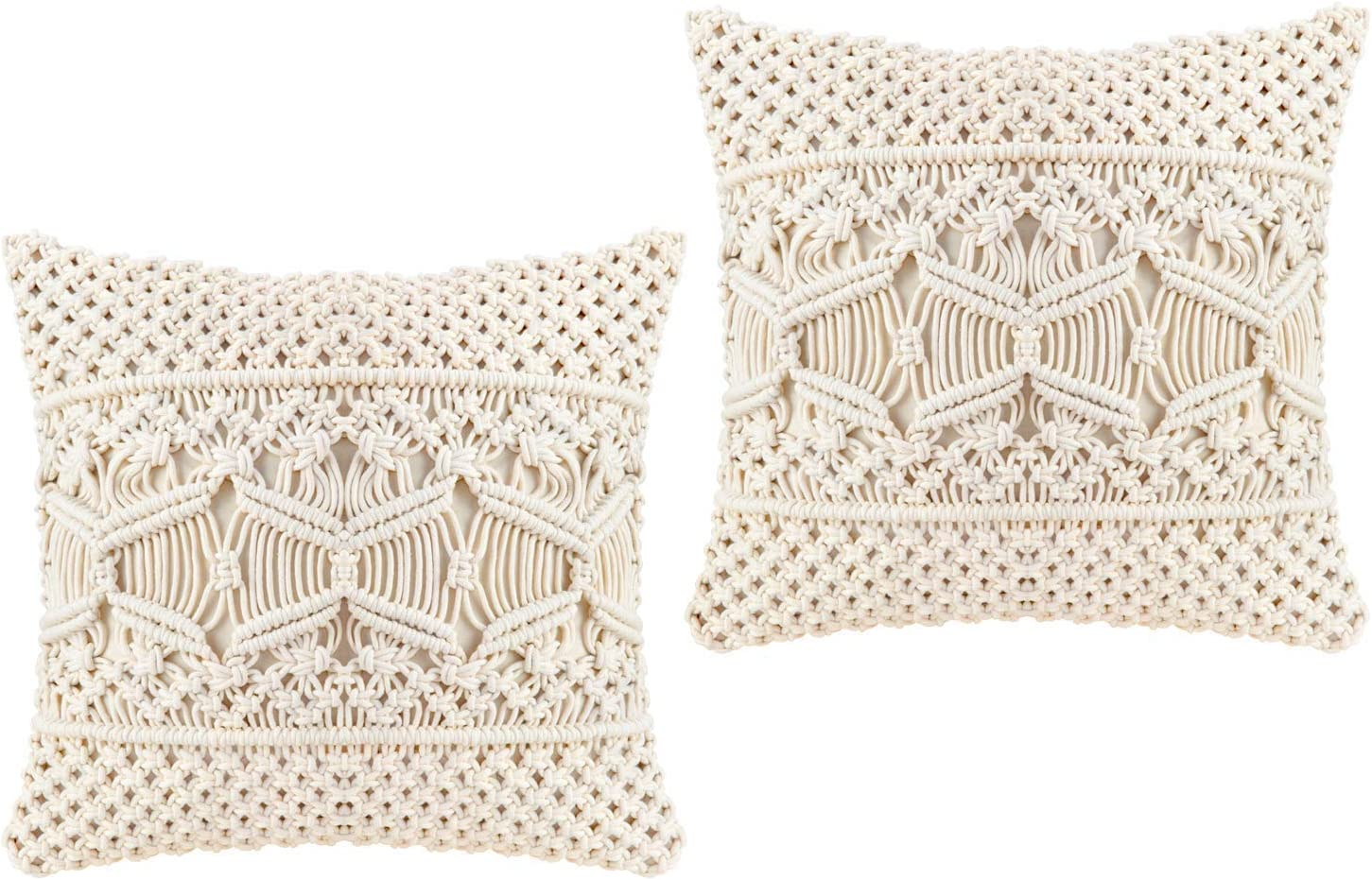 Mkouo Funda de Almohada Macramé Funda de cojín (Insertos de Almohada no incluidos) Set of 2 Funda de Almohada Decorativa for Bed Sofa Couch Bench Car Boho Home Decor,43cm