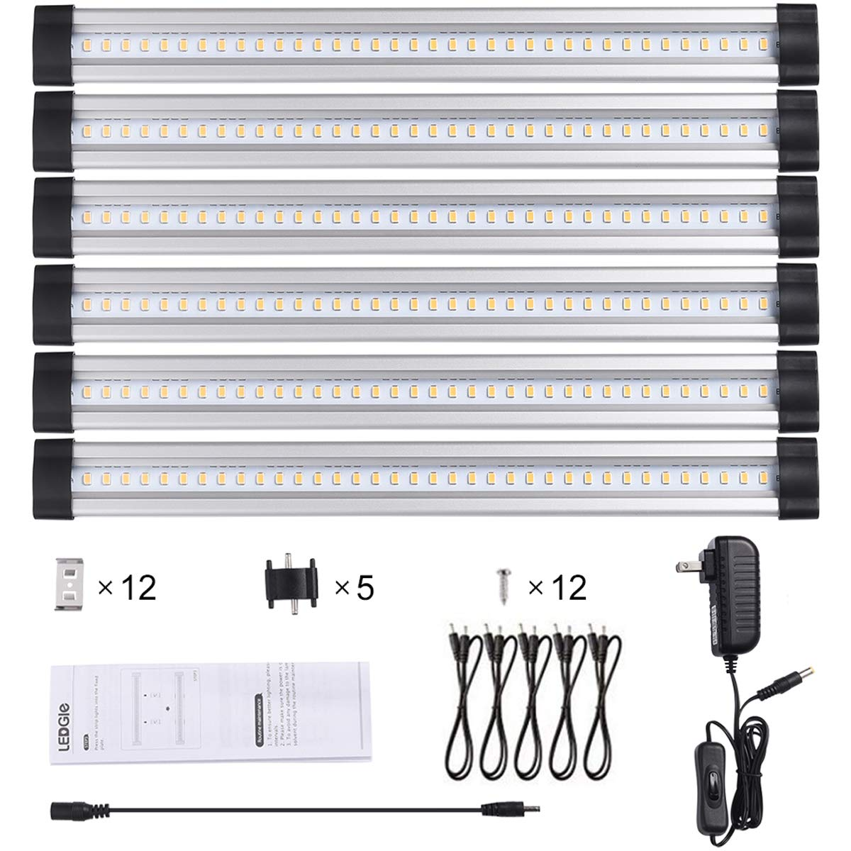 LEDGLE 24W LED Under Cabinet Lighting Kit Plug in,6 pcs 12 Inches Cabinet Light Strips, 1920 Lumen, for Kitchen Cabinets Counter, Closet, Shelf Lights,Warm White 3000K, All Accessories Included