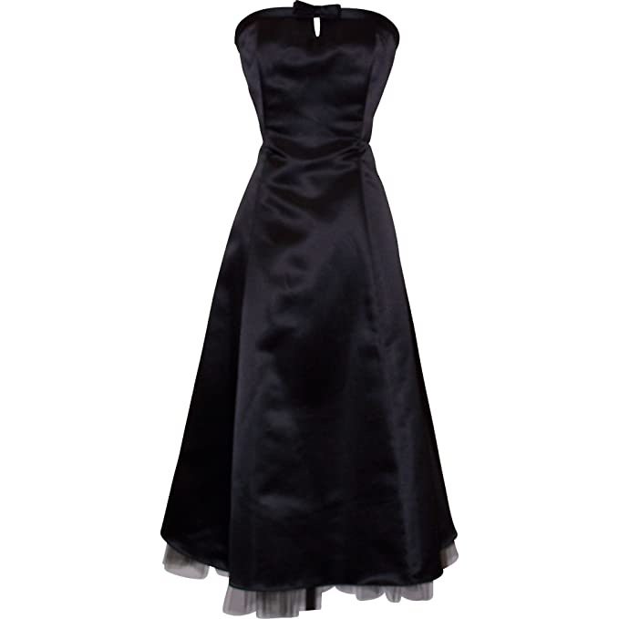 Amazon.com: 50s Strapless Satin Formal Bridesmaid Gown Holiday Prom Dress: Clothing