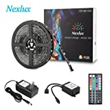 LED light Strip, Nexlux 16.4ft Waterproof IP65 5050 SMD RGB LED Flexible Strip Light Black PCB Board Color Changing Decoration Lighting 44 key IR Remote Controller+ UL approved Power Adapter