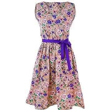 Vestido vintage para mujer – Saihui 1950 Retro floral patrón impresión plegable cinturón venda swing A