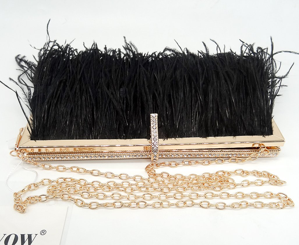Zakia Real Natural Ostrich Feather Evening Clutch Shoulder Bag Party Bag (Black-B) by Zakia (Image #8)