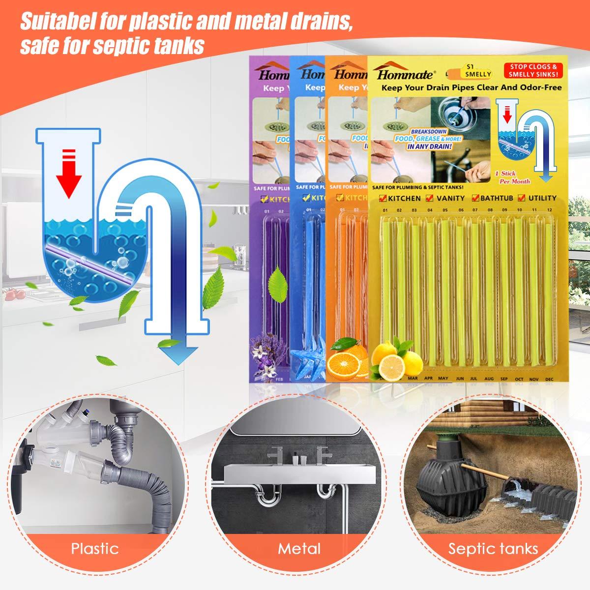 Amazon.com: Deodorizador de drenaje de 48 varillas de 4 ...