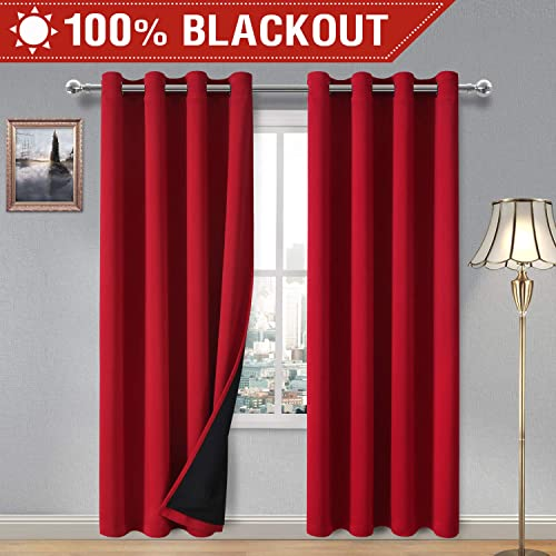 DWCN 100 Blackout Curtains Thermal Insulated, Energy Saving Noise Reducing Bedroom and Living Room Curtains with Liner, Red, W 52 x L 84 Inch, 2 Panels