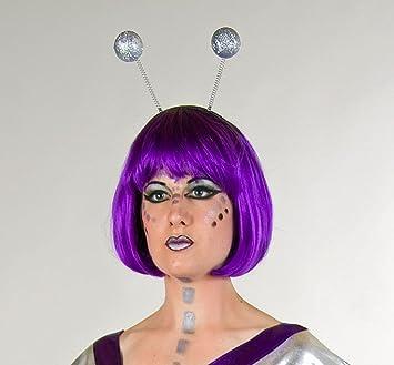Kopfbugel Mit Glitterkugeln Silber Haarreif Neu Karneval Amazon De