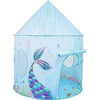Sjöjungfru barntält – 105 x 135 cm lektält för flickor under havet fe prinsessa slott spel lekhus hopfällbart inomhus…