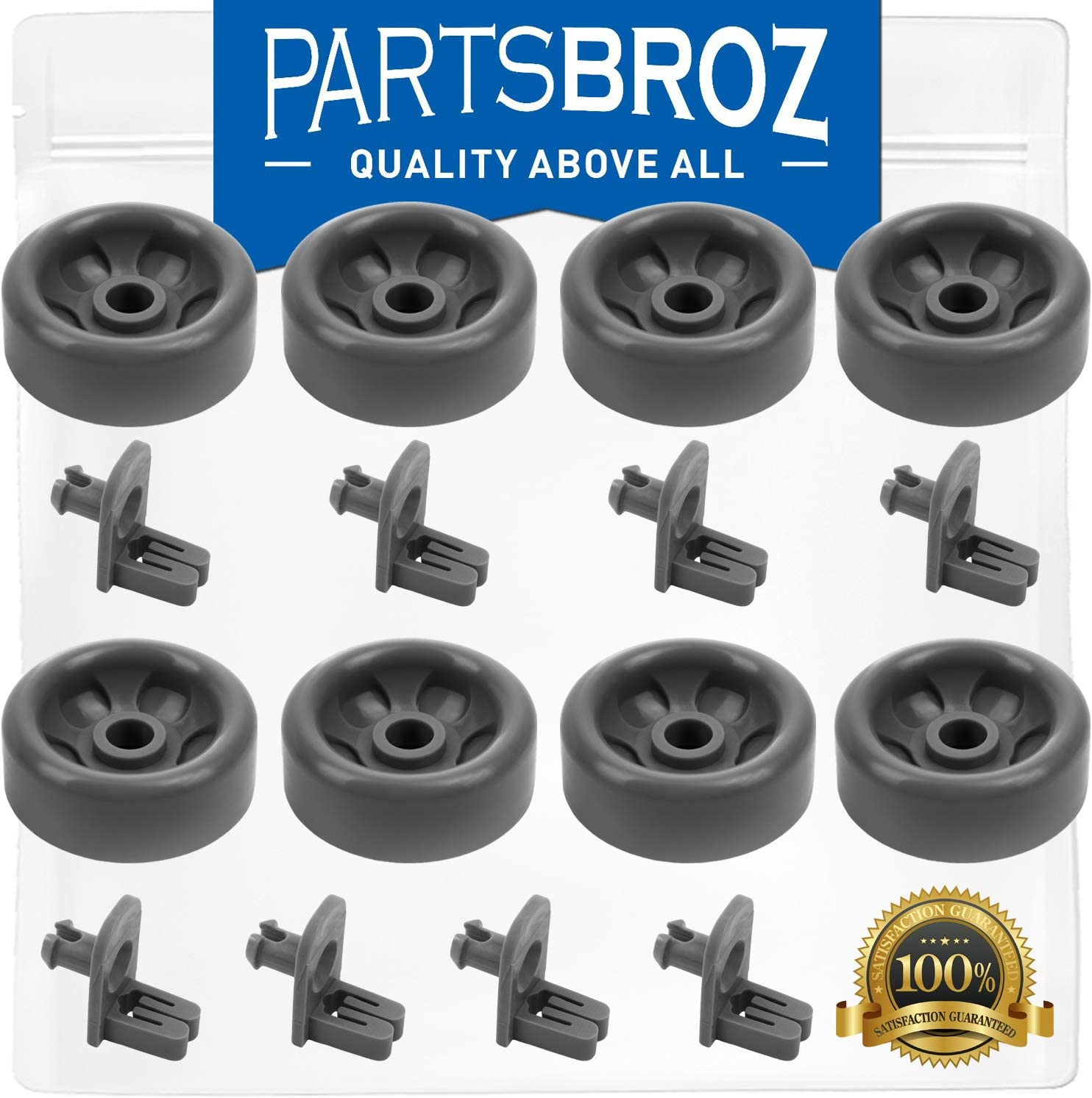 WD35X21041 (Pack of 8) Lower Dishrack Roller & Axle Kit for GE Dishwashers by PartsBroz - Replaces Part Numbers AP5986366, WD12X10277, WD12X10136, PS11725221, WD12X10107, WD12X10126, WD12X10261