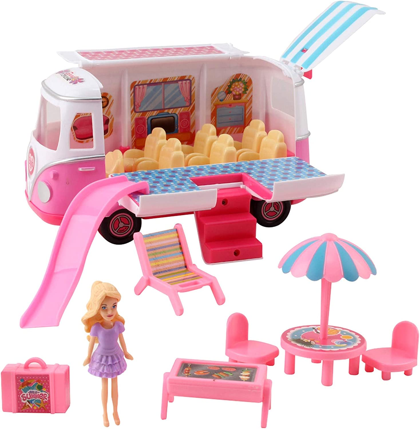 Vokodo Picnic Adventure Van With Doll Figurine Includes Slide Patio Furniture And Wardrobe Kids Pretend Play Party Bus Cooking Truck Kitchen Vogue Toy Fashion Car Vehicle Great Gift For Girls Children