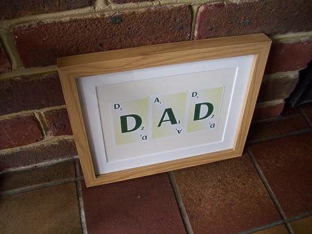 English Gems WTD - Marco para fotos (marco de fotos, diseño con texto en inglés Dad Scrabble): Amazon.es: Hogar