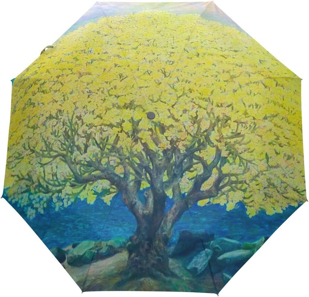 DOENR Yellow Tree Compact Travel Umbrella Sun and Rain Auto Open Close Umbrellas Windproof UV Protection Umbrella
