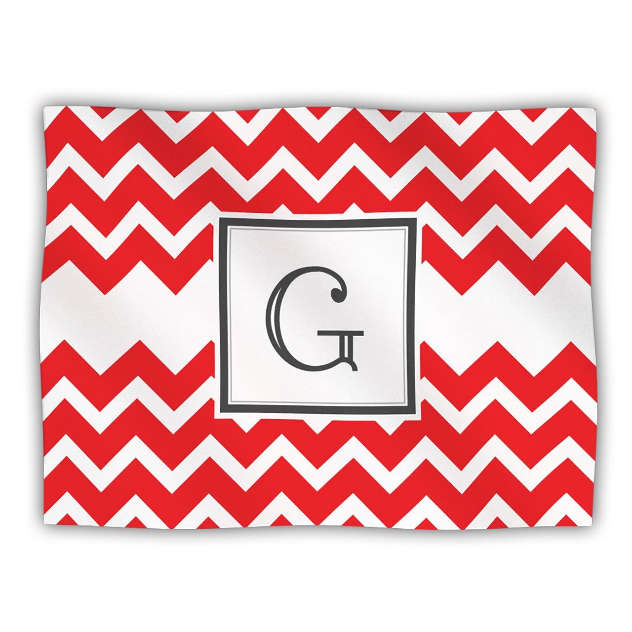 Kess InHouse Kess Original 'Monogram Chevron Red Letter G' Dog Blanket, 40 by 30-Inch