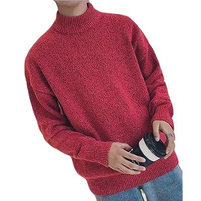 Jaycargogo Women Autumn Warm Long Sleeve Soft Mock Neck Slim Knit Pullover Sweater