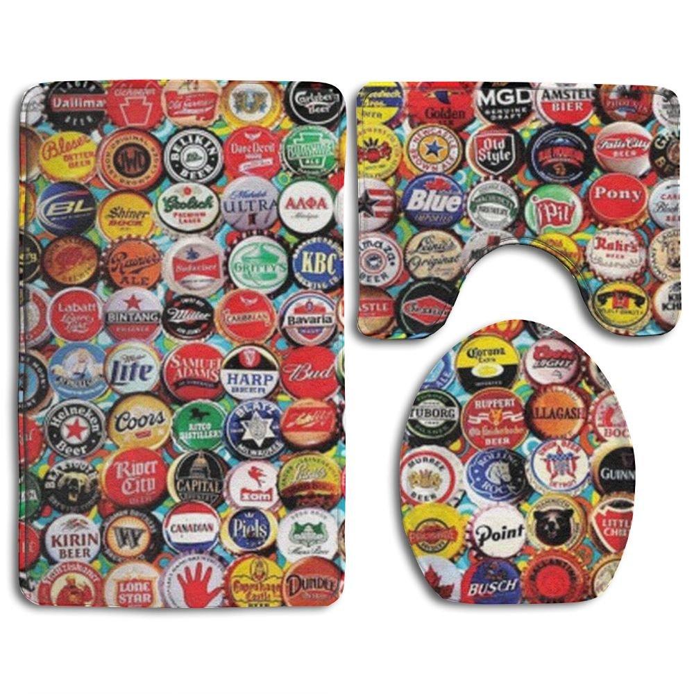 HOMESTORES 3 Piece Bathroom Rug Set - World Beer Bottle Caps Set Skidproof Toilet Bath Rug Mat U Shape Contour Lid Cover For Shower Spa by HOMESTORES (Image #1)