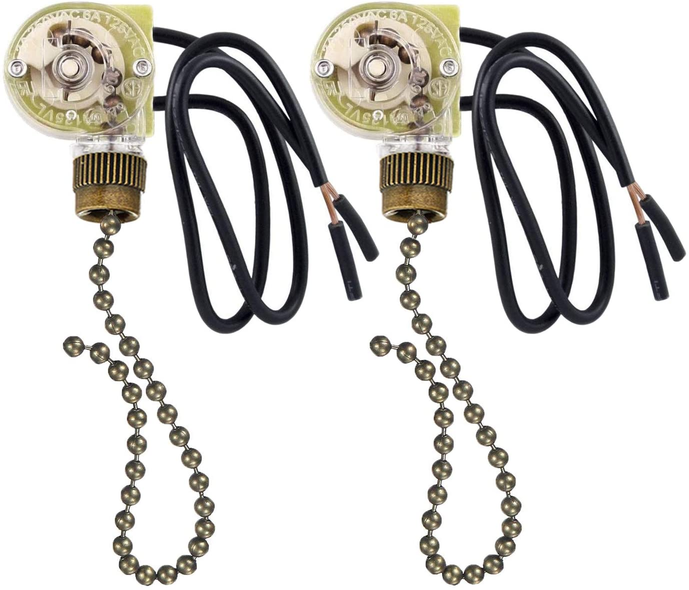 2 Pack Fan-Light Switch & Pull Chain, Electrical Pull Chain Switch, ON-Off, 6 A/125V AC, 6 inch Wire Terminal (Antique Brass Pull Chain) - -