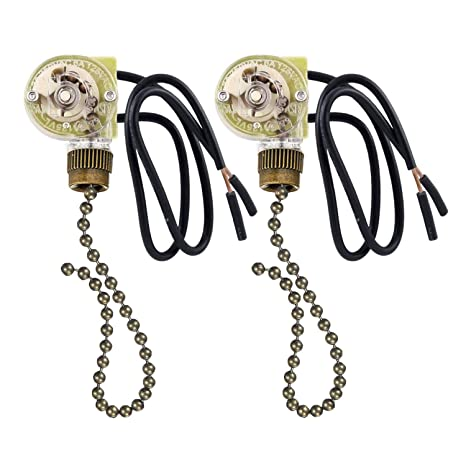 2 Pack Fan Light Switch Pull Chain Electrical Pull Chain Switch