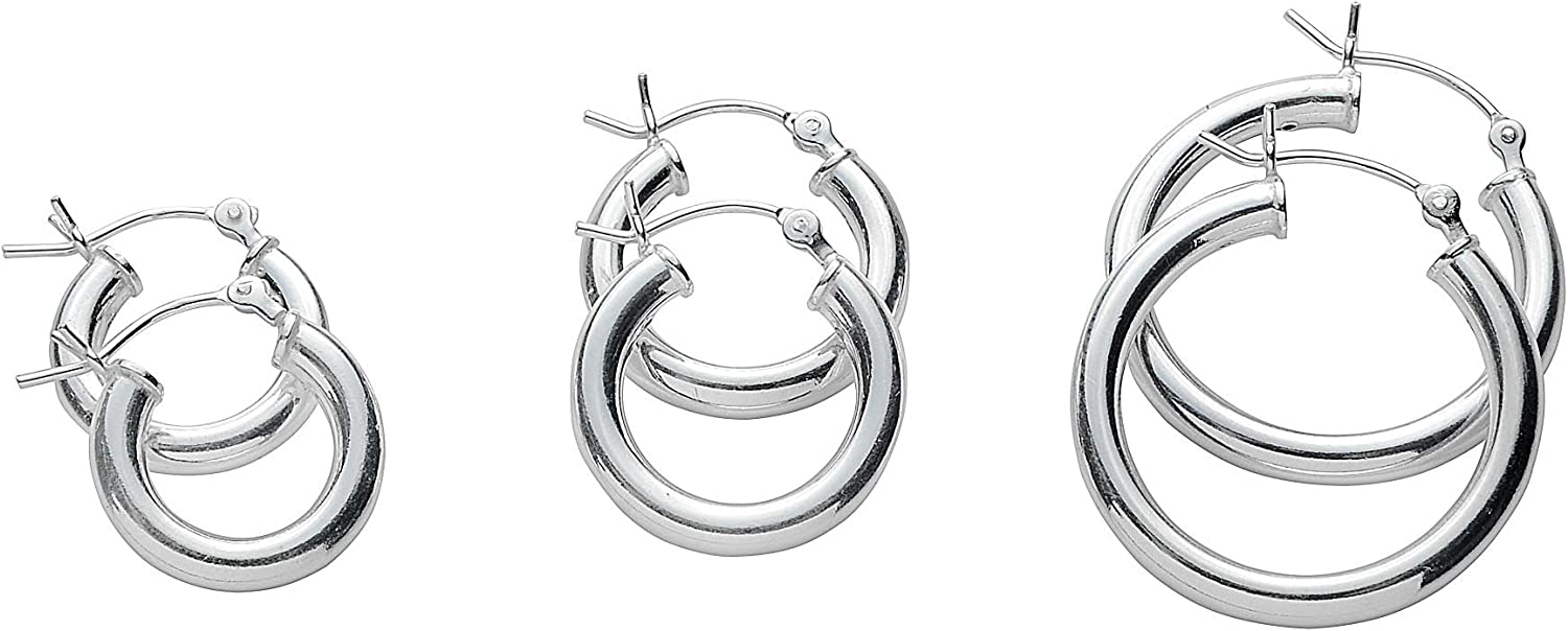NYC Sterling Gold Plated or Rose Gold Plated 3 Set Pair Hoop Earrings in 925 Sterling Silver