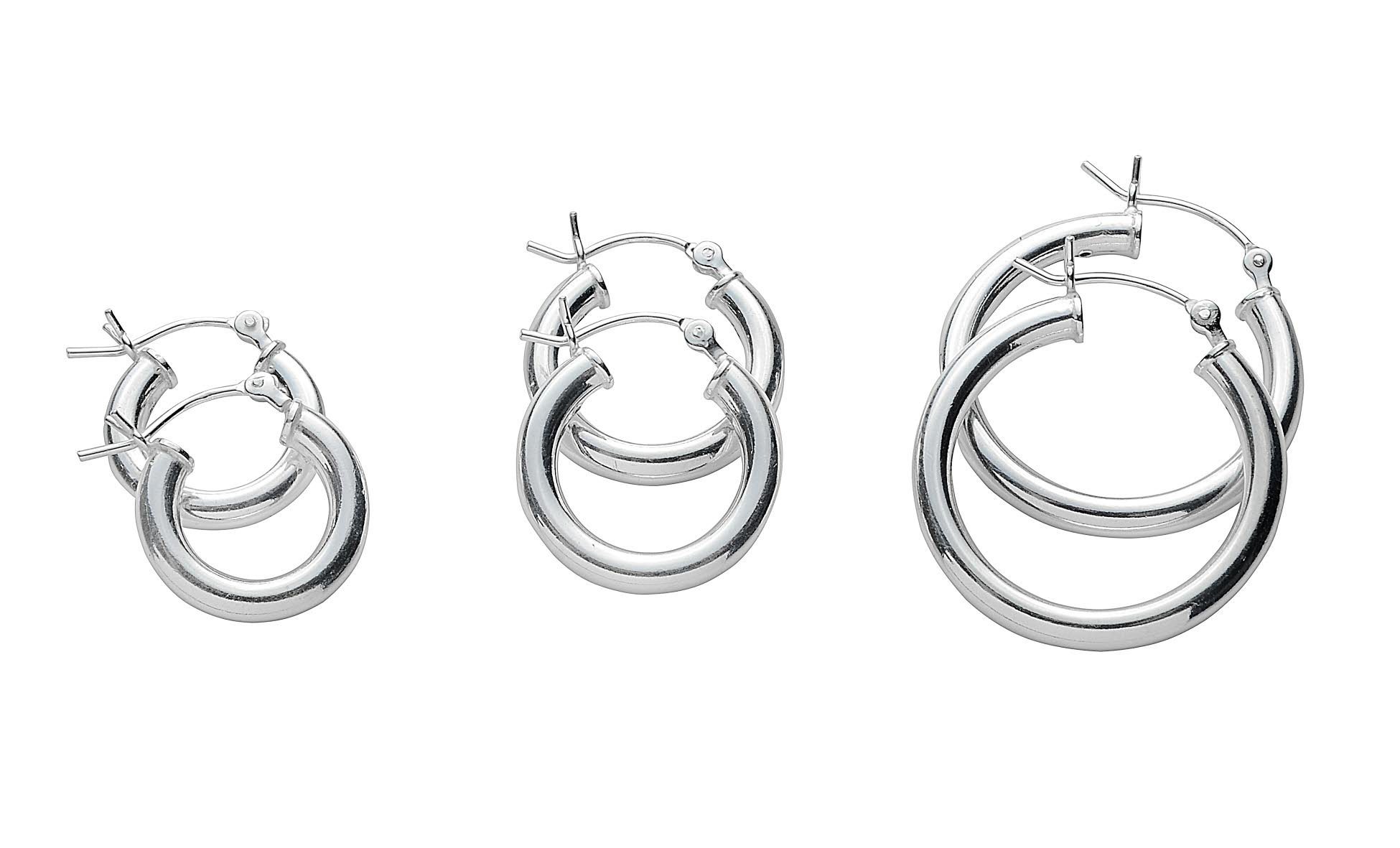 NYC Sterling Gold Plated or Rose Gold Plated 3 Set Pair Hoop Earrings in 925 Sterling Silver (sterling-silver)
