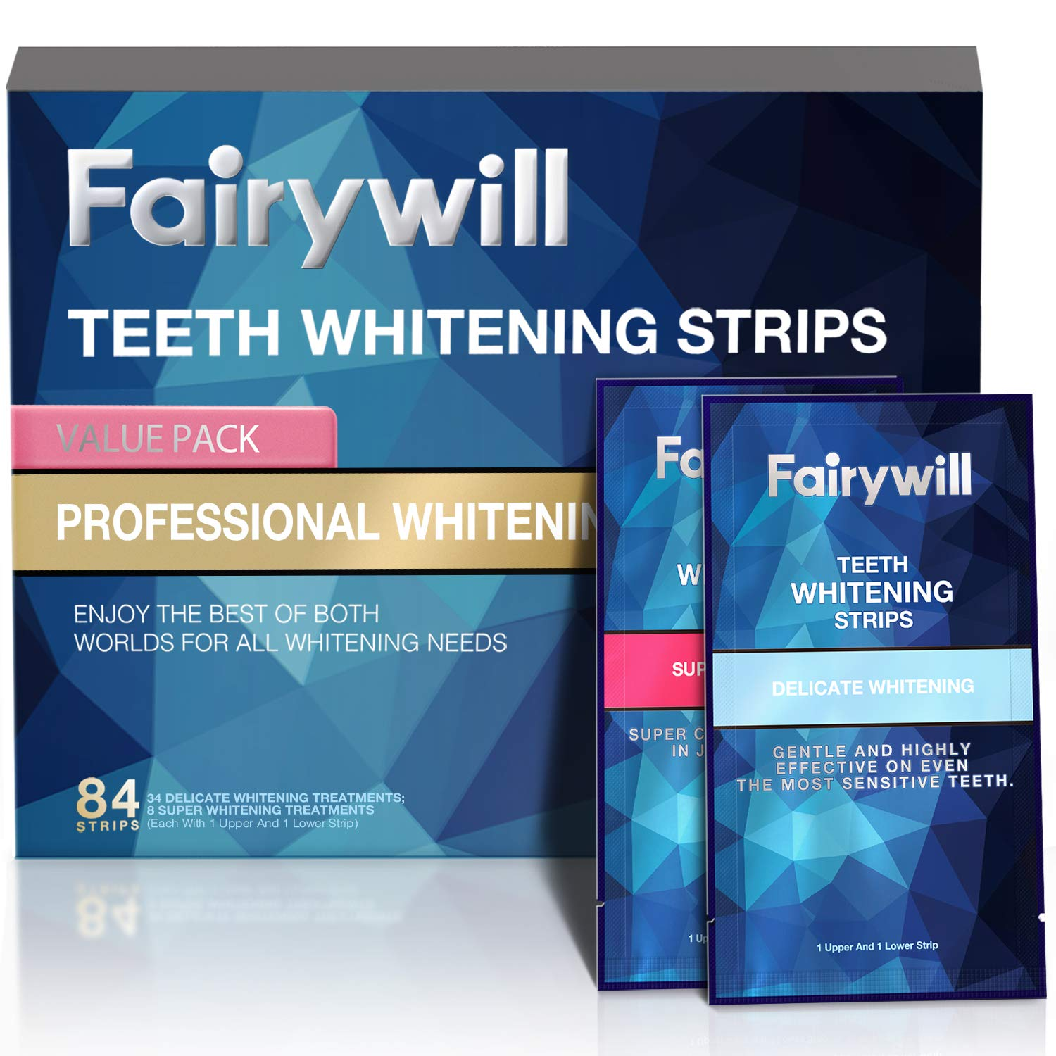 Fairywill Whitening Strips Kits Pack of 84 Pcs, Express Strips and Professional teeth whitening strips for 1 Hour Teeth Whitening Remove Many Years Stains