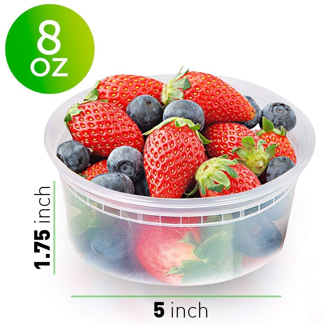50pk 8oz Small Plastic Containers with Lids - Slime Containers with lids Freezer Containers Deli Containers with Lids - Food Containers Meal Prep Food Prep Containers Plastic Food Containers with Lids by Prep Naturals (Image #2)