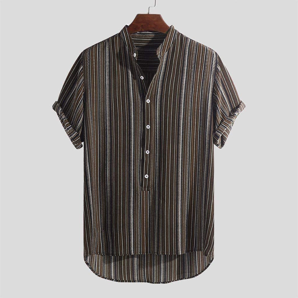 ASOBIMONO Mens Loose Short Sleeve Shirts Plus Size Summer Casual Henley Tops Button up Striped Tees Breathable Blouse