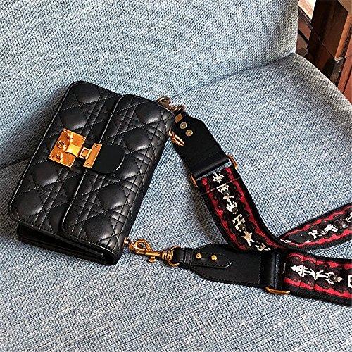 Bag épaule Simple à Larges Loisirs Serrure rétro bandoulière Sac PU Messenger Bretelles carrée Noir I4wqPTW4F