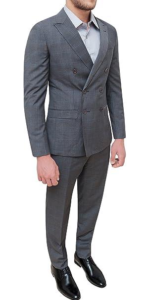 Abito completo uomo sartoriale grigio doppiopetto fantasia quadri elegante  cerimonia  Amazon.it  Abbigliamento 3799e5c2696f