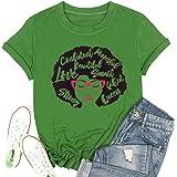 T&Twenties Women's Afro Vintage Shirt Melanin Queen Words Art T-Shirt Glasses Printed Short Sleeve Tee Shirt