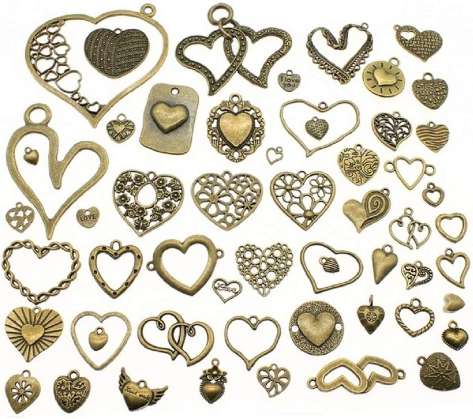 30//90pcs Tibetan Silver//Bronze Happiness Heart made with love Charms Pendant