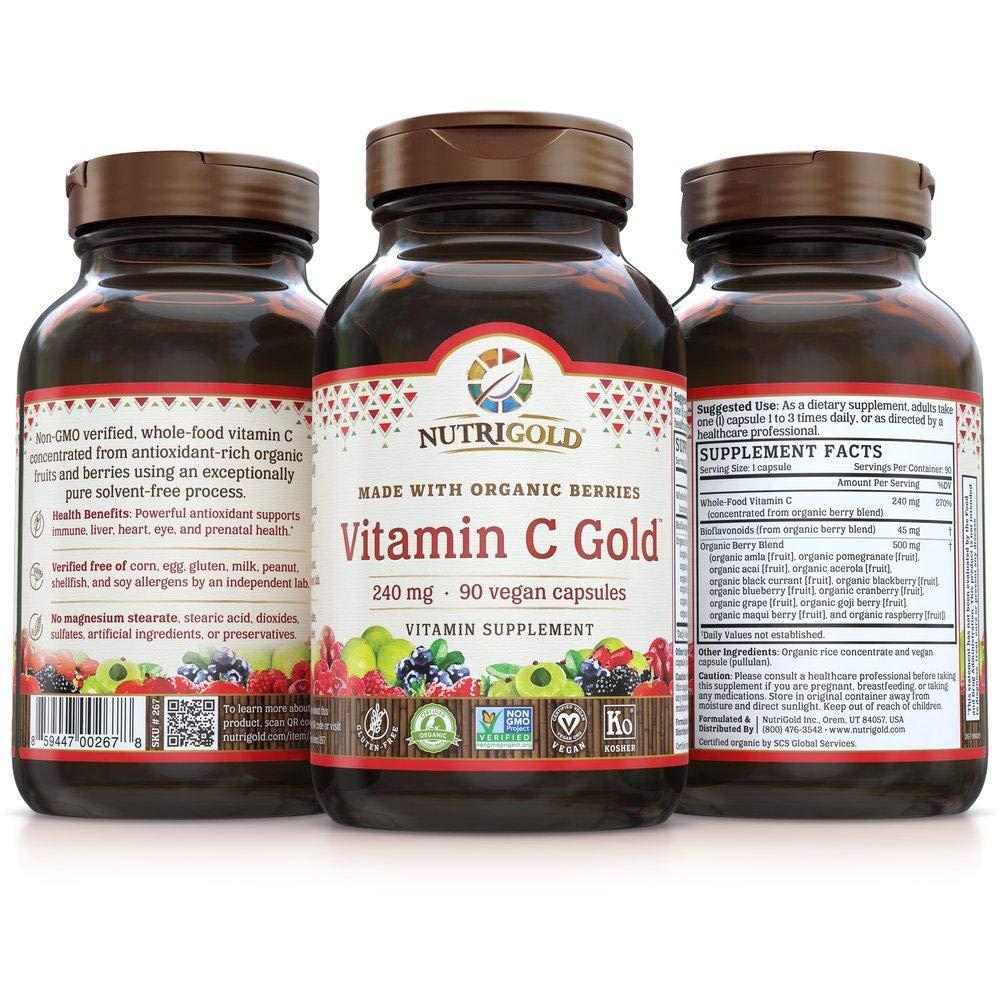 NutriGold Organic Whole-Food Vitamin C 240 mg 90 plantcaps by Nutrigold (Image #4)
