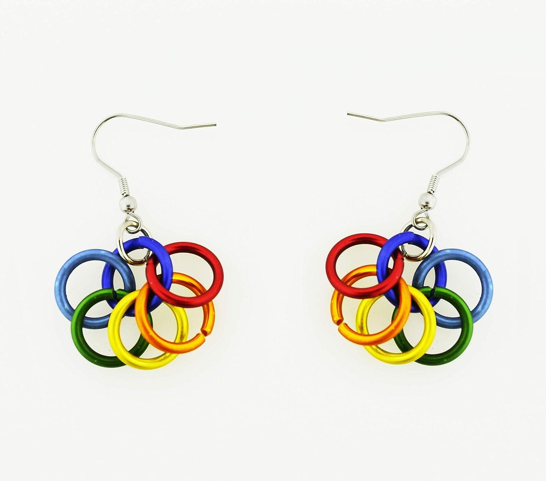 Rainbow Drop Multi Colour LGBTQ Striped Bright Resin Dangle Earrings