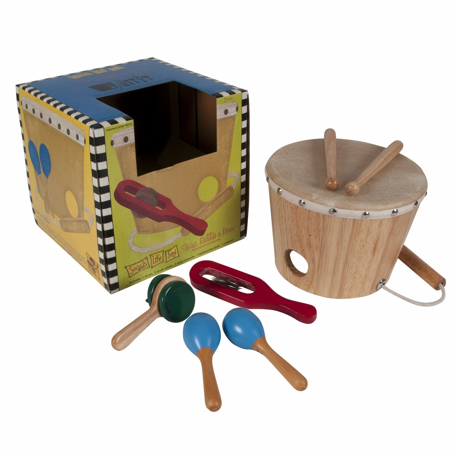 Sounds Like Fun 8-Piece Shake, Rattle and Drum Music Kit (Age 3+) by Sounds Like Fun