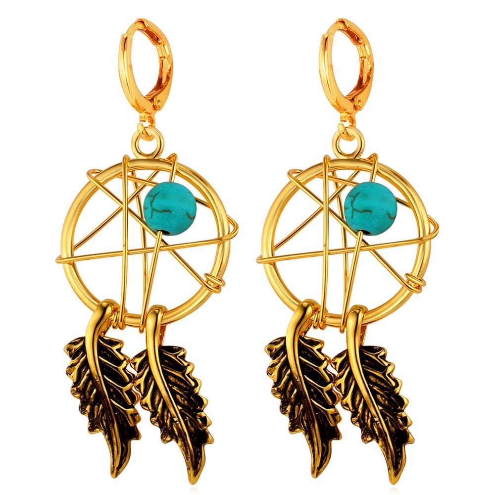 U7 Women Earrings P18K Gold Plated Turquoise Decorate Indian Style Magic Webs Dream Catcher Dangle Earrings