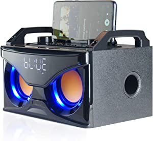 Bluetooth Speaker with Subwoofer, Wooden Wireless Stereo Speakers, 10W, Bluetooth 5.0 Portable Party Speaker with Loud and bass, for Home, Outdoor, Travel, FM Radio, Gift