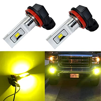 Alla Lighting H11 LED Fog Lights Super Bright 3000 Lumens High Power CSP SMD LED H11 3000K H11LL H8LL H8 H16 H11 LED Bulb H11 Yellow Fog Lights Lamp Bulbs Replacement w/Projector (Set of 2): Automotive