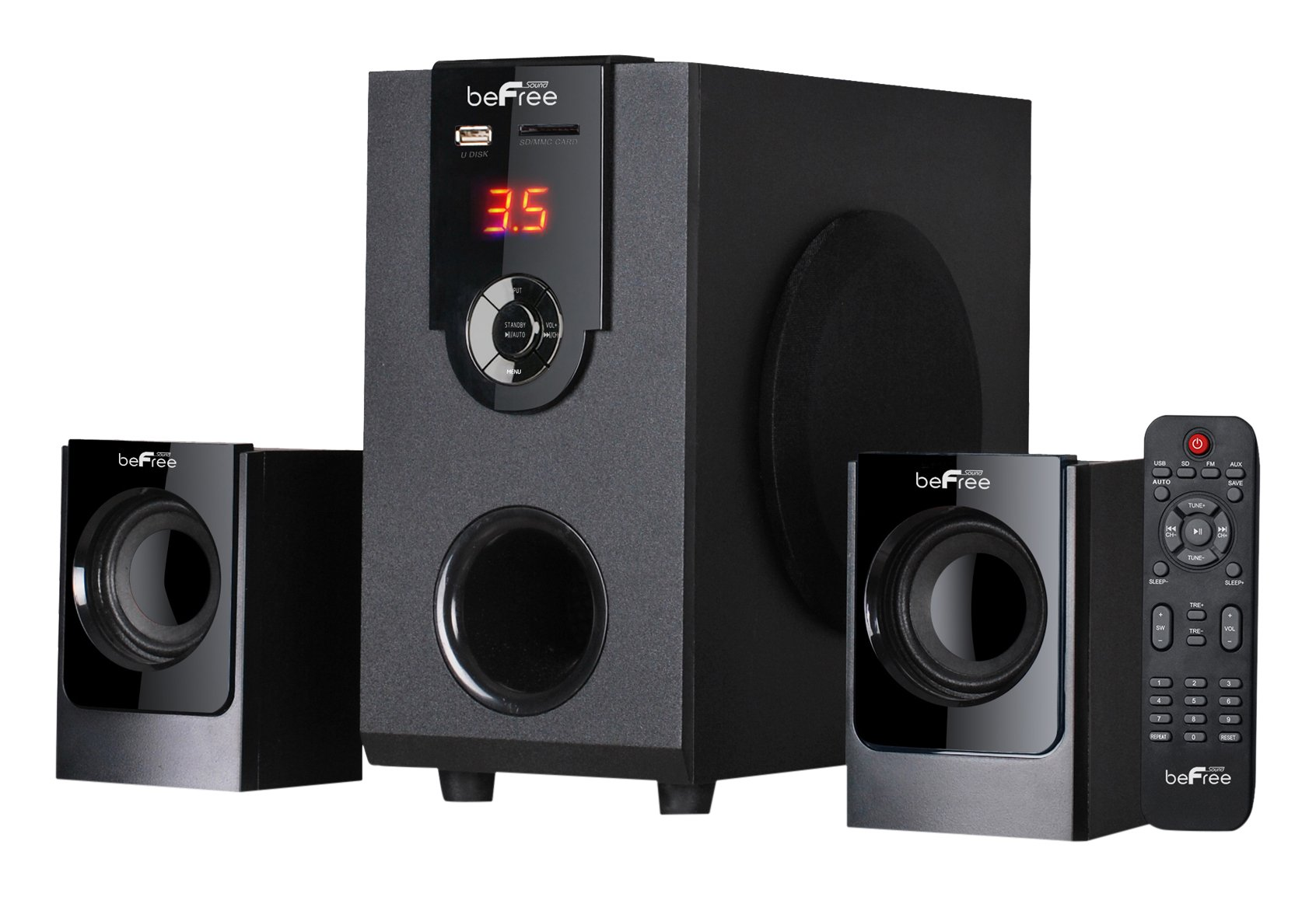 beFree Sound BFS-30 2.1 Channel Surround Sound Bluetooth Speaker System
