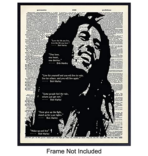 Love Life Live Bob Marley Quote Print Vintage Dictionary Page Wall Art Picture