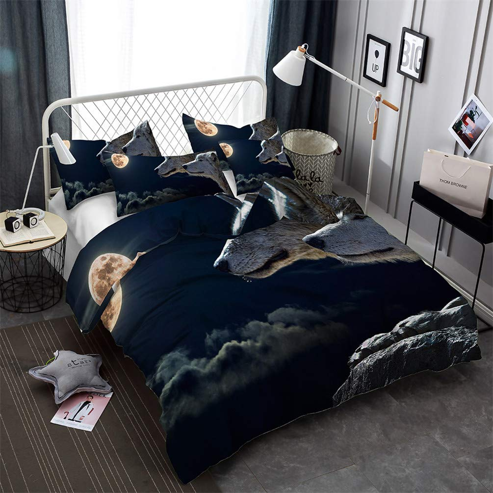 double duvet cover + 2 pillowcases Prevent moisture duvet cover and pillowcase king bed Lonely wolf animal moon 3d bedding hypoallergenic bedroom three-piece bedding single