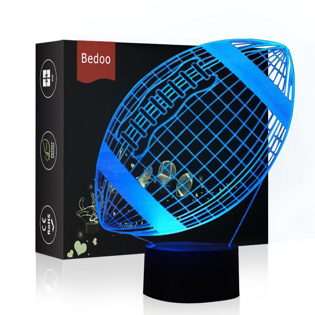 LED Night Light 3D Illusion Bedside Table Lamp 7 Colors Changing Sleeping Lighting with Smart Touch Button Cute Gift Warming Present Creative Decoration Ideal Art and Crafts (Football Rugby)