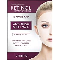 Retinol Anti-Aging Sheet Mask – Hydrating Vitamin-Enriched 15 Minute Treatment With Collagen Firms Face – Exfoliates for…