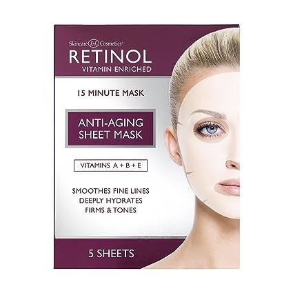 Mascarilla Facial Anti-envejecimiento de Retinol– Tratamiento Hidratante de 15 Minutos Enriquecido con Vitaminas