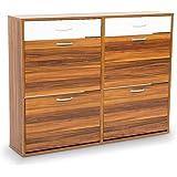 24 Pairs Shoe Cabinet Rack Storage Cupboard Organiser Shelf Walnut Drawers Chest